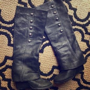 Vince Camuto Leather Black Tall Wedge Boots